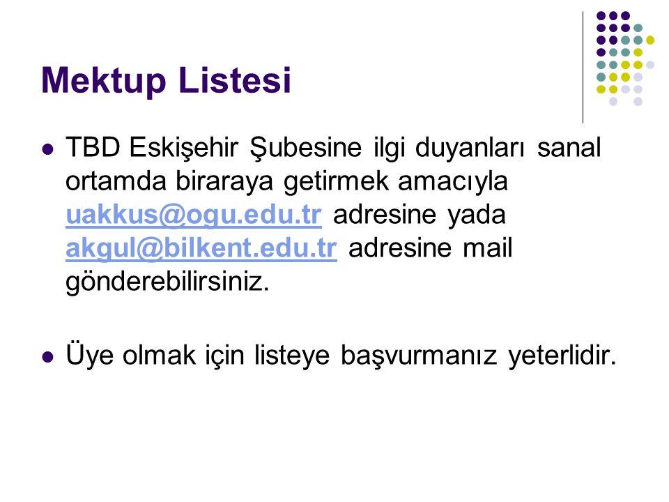 Mektup Listesi TBD Eskişehir Şubesine ilgi duyanları sanal ortamda biraraya getirmek amacıyla uakkus@ogu.edu.tr adresine yada akgul@bilkent.edu.tr adr