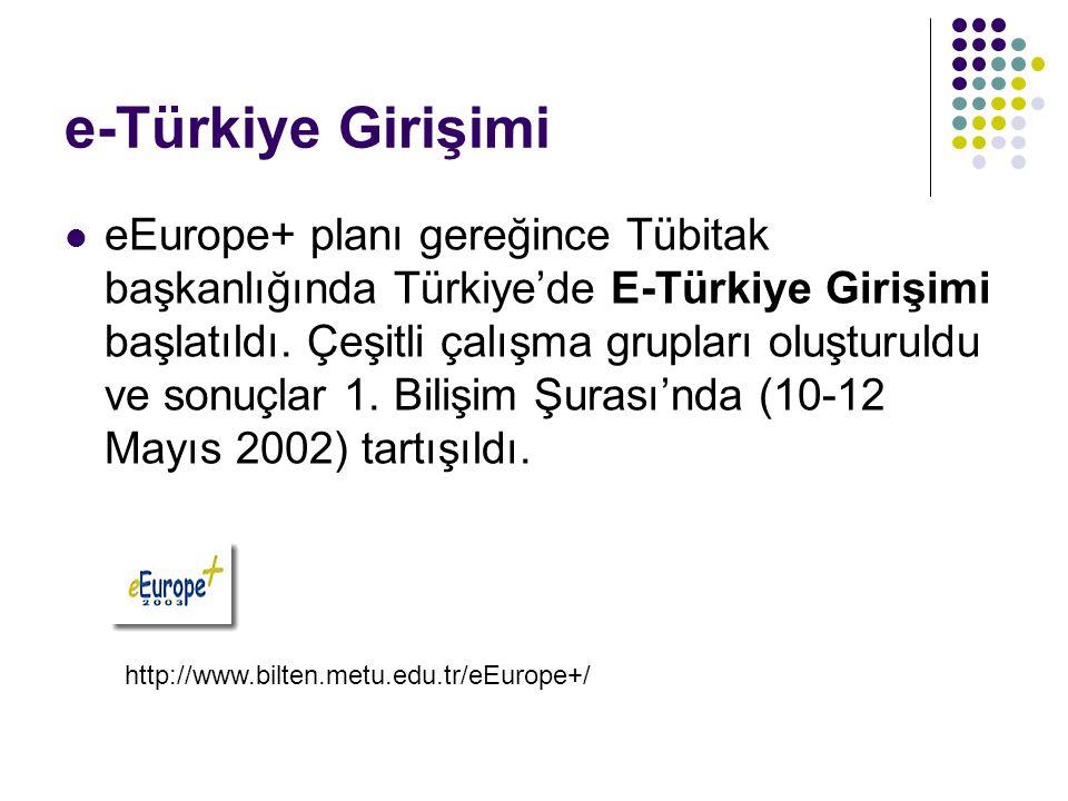 e-Türkiye Girişimi eEurope+ planı gereğince Tübitak başkanlığında Türkiye'de E-Türkiye Girişimi başlatıldı. Çeşitli çalışma grupları oluşturuldu ve so