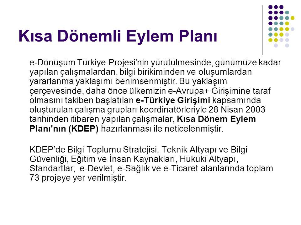 Kısa Dönemli Eylem Planı e-Dönüşüm Türkiye Projesi'nin yürütülmesinde, günümüze kadar yapılan çalışmalardan, bilgi birikiminden ve oluşumlardan yararl