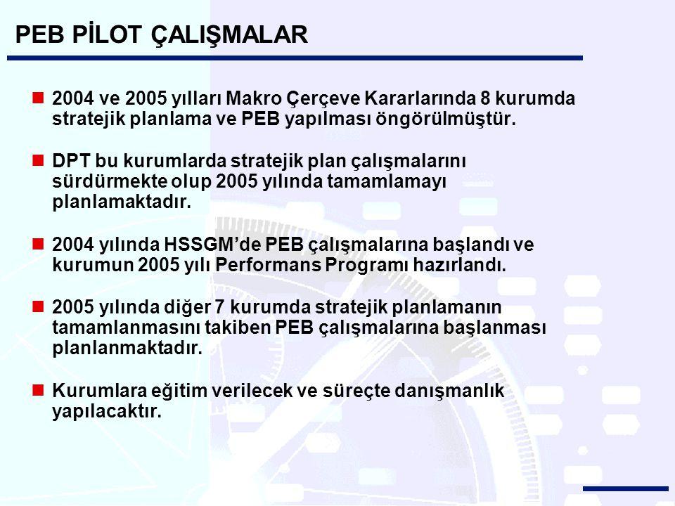 PEB PİLOT ÇALIŞMALAR 2004 ve 2005 yılları Makro Çerçeve Kararlarında 8 kurumda stratejik planlama ve PEB yapılması öngörülmüştür.