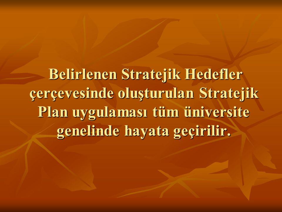 Belirlenen Stratejik Hedefler çerçevesinde oluşturulan Stratejik Plan uygulaması tüm üniversite genelinde hayata geçirilir.