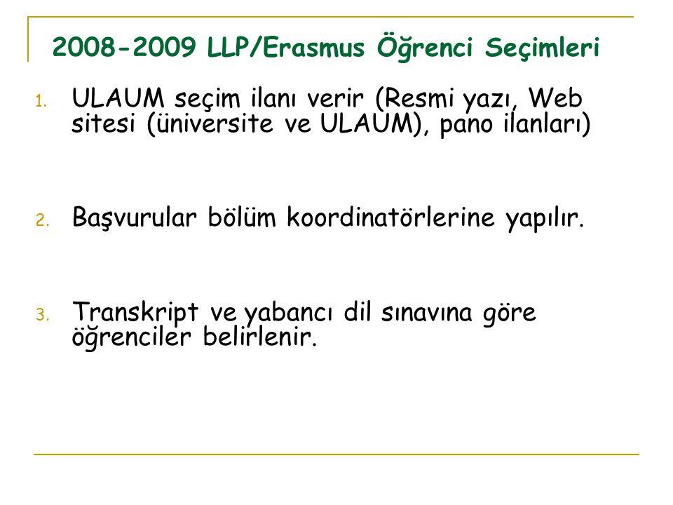 1. ULAUM seçim ilanı verir (Resmi yazı, Web sitesi (üniversite ve ULAUM), pano ilanları) 2. Başvurular bölüm koordinatörlerine yapılır. 3. Transkript
