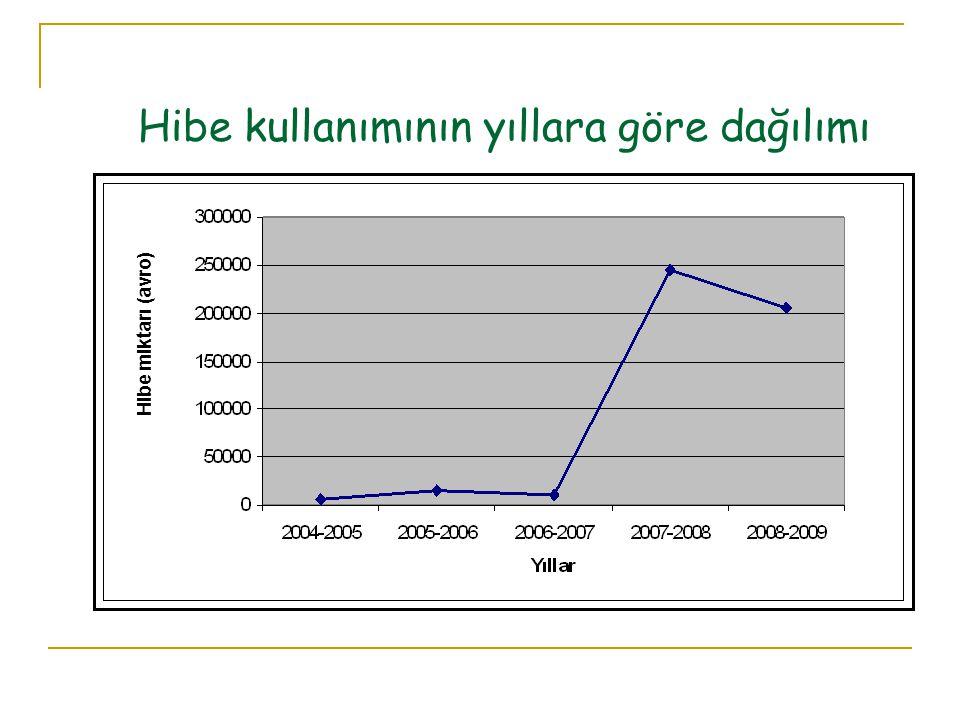 Hibe kullanımının yıllara göre dağılımı Hibe miktarı (avro)