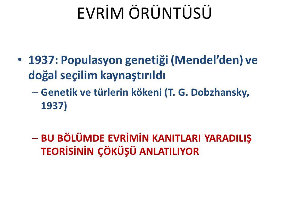 1937: Populasyon genetiği (Mendel'den) ve doğal seçilim kaynaştırıldı – Genetik ve türlerin kökeni (T.