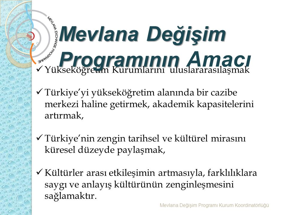 Yükseköğretim Kurumlarını uluslararasılaşmak Türkiye'yi yükseköğretim alanında bir cazibe merkezi haline getirmek, akademik kapasitelerini artırmak, Türkiye'nin zengin tarihsel ve kültürel mirasını küresel düzeyde paylaşmak, Kültürler arası etkileşimin artmasıyla, farklılıklara saygı ve anlayış kültürünün zenginleşmesini sağlamaktır.