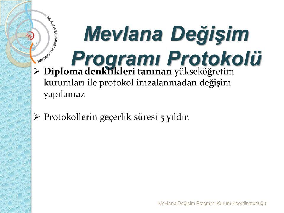 Mevlana Değişim Programı Protokolü Mevlana Değişim Programı Kurum Koordinatörlüğü  Diploma denklikleri tanınan yükseköğretim kurumları ile protokol imzalanmadan değişim yapılamaz  Protokollerin geçerlik süresi 5 yıldır.