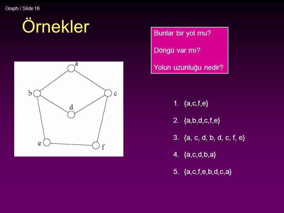 Graph / Slide 16 Örnekler 1.{a,c,f,e} 2.{a,b,d,c,f,e} 3.{a, c, d, b, d, c, f, e} 4.{a,c,d,b,a} 5.{a,c,f,e,b,d,c,a} Bunlar bir yol mu? Döngü var mı? Yo