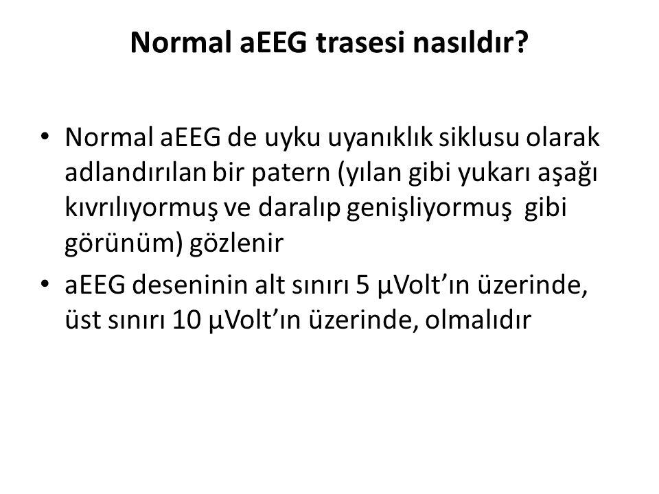 Normal aEEG trasesi nasıldır? Normal aEEG de uyku uyanıklık siklusu olarak adlandırılan bir patern (yılan gibi yukarı aşağı kıvrılıyormuş ve daralıp g