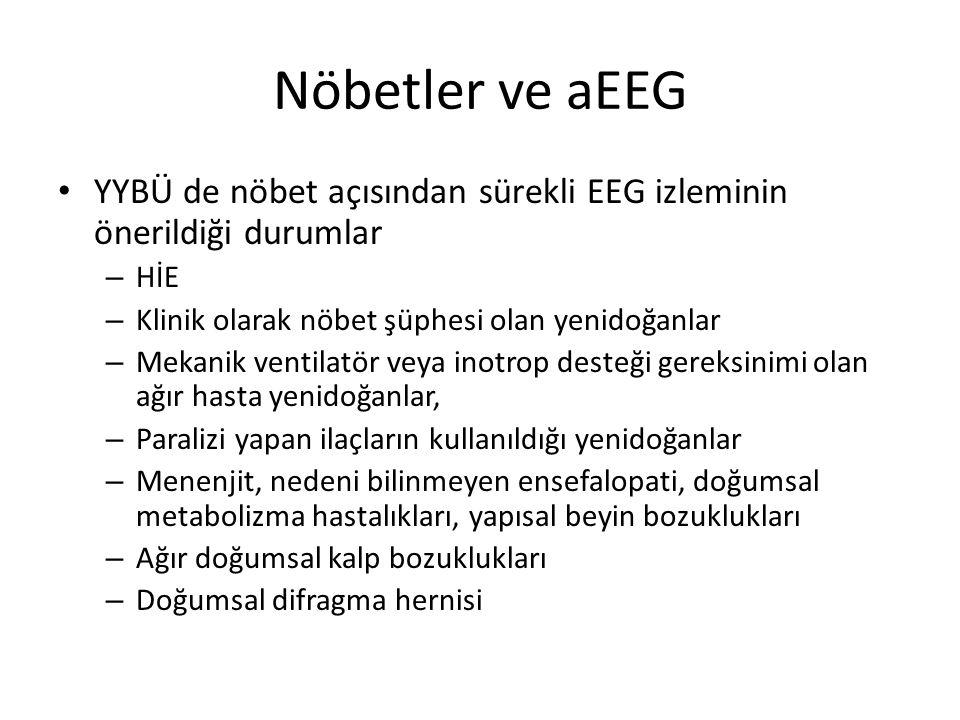 Nöbetler ve aEEG YYBÜ de nöbet açısından sürekli EEG izleminin önerildiği durumlar – HİE – Klinik olarak nöbet şüphesi olan yenidoğanlar – Mekanik ven