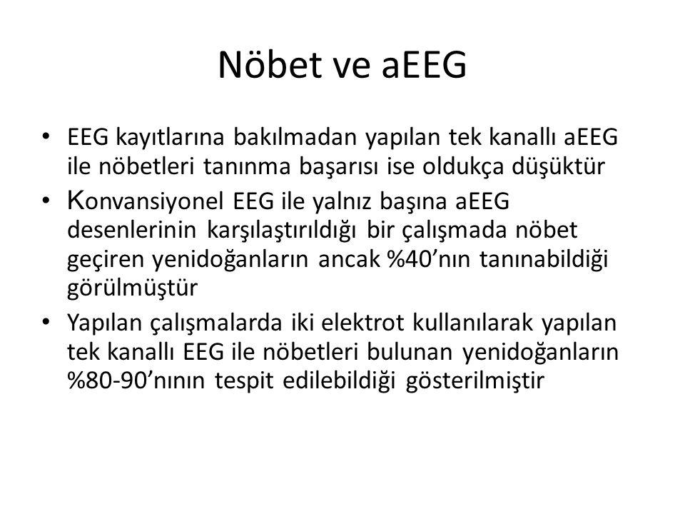 Nöbet ve aEEG EEG kayıtlarına bakılmadan yapılan tek kanallı aEEG ile nöbetleri tanınma başarısı ise oldukça düşüktür K onvansiyonel EEG ile yalnız ba