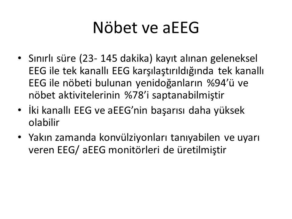 Nöbet ve aEEG Sınırlı süre (23- 145 dakika) kayıt alınan geleneksel EEG ile tek kanallı EEG karşılaştırıldığında tek kanallı EEG ile nöbeti bulunan ye