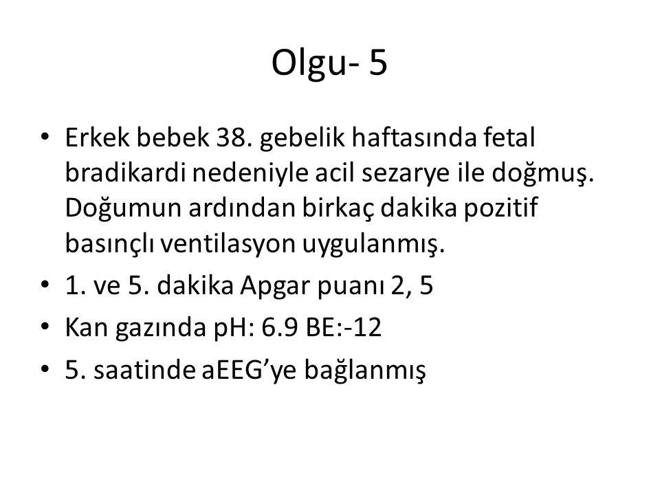 Olgu- 5 Erkek bebek 38. gebelik haftasında fetal bradikardi nedeniyle acil sezarye ile doğmuş. Doğumun ardından birkaç dakika pozitif basınçlı ventila