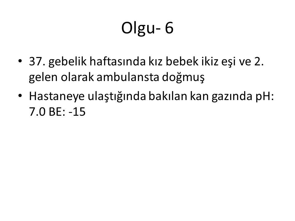 Olgu- 6 37. gebelik haftasında kız bebek ikiz eşi ve 2. gelen olarak ambulansta doğmuş Hastaneye ulaştığında bakılan kan gazında pH: 7.0 BE: -15