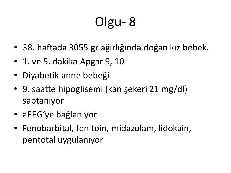 Olgu- 8 38. haftada 3055 gr ağırlığında doğan kız bebek. 1. ve 5. dakika Apgar 9, 10 Diyabetik anne bebeği 9. saatte hipoglisemi (kan şekeri 21 mg/dl)