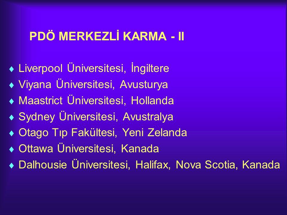PDÖ MERKEZLİ KARMA - II  Liverpool Üniversitesi, İngiltere  Viyana Üniversitesi, Avusturya  Maastrict Üniversitesi, Hollanda  Sydney Üniversitesi,