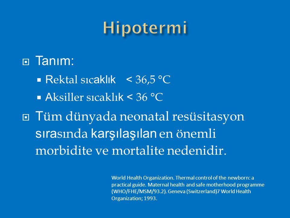  Tanım:  R ektal sıc aklık < 36,5 °C  A ksiller sıcaklı k < 36 °C  T üm dünyada neonatal resüsitasyon sıra sında karşılaşılan en önemli morbidite ve mortalite nedenidir.