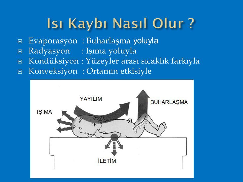  Evaporasyon : Buharlaşma yoluyla  Radyasyon : Işıma yoluyla  Kondüksiyon : Yüzeyler arası sıcaklık farkıyla  Konveksiyon : Ortamın etkisiyle