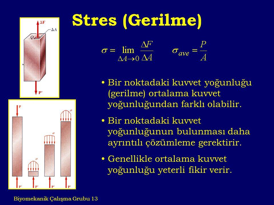 Stres (Gerilme) Biyomekanik Çalışma Grubu 13 Bir noktadaki kuvvet yoğunluğu (gerilme) ortalama kuvvet yoğunluğundan farklı olabilir. Bir noktadaki kuv