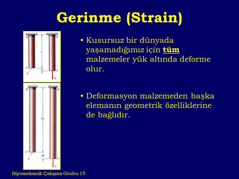 Gerinme (Strain) Biyomekanik Çalışma Grubu 15 Kusursuz bir dünyada yaşamadığımız için tüm malzemeler yük altında deforme olur. Deformasyon malzemeden