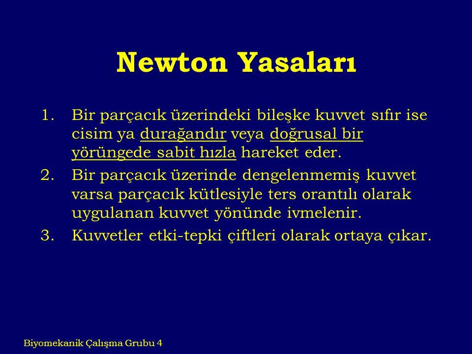 Newton Yasaları 1.Bir parçacık üzerindeki bileşke kuvvet sıfır ise cisim ya durağandır veya doğrusal bir yörüngede sabit hızla hareket eder. 2.Bir par