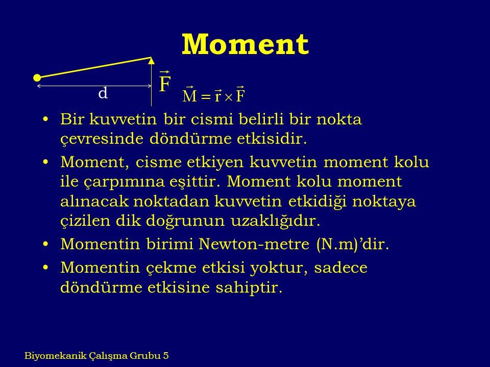 Moment Bir kuvvetin bir cismi belirli bir nokta çevresinde döndürme etkisidir. Moment, cisme etkiyen kuvvetin moment kolu ile çarpımına eşittir. Momen