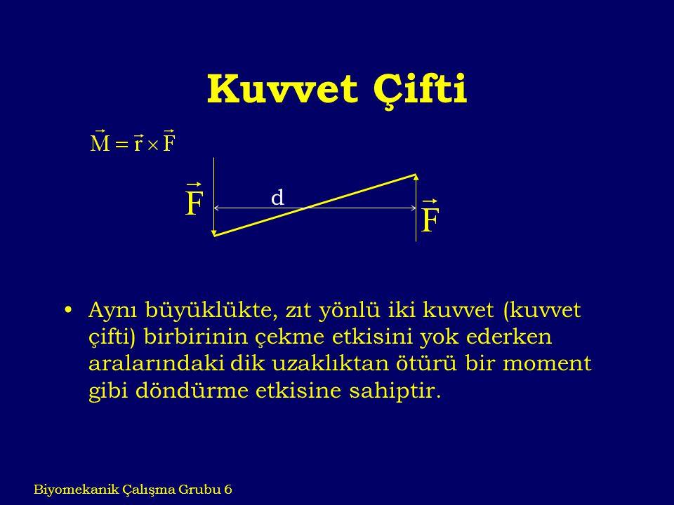 Kuvvet Çifti Aynı büyüklükte, zıt yönlü iki kuvvet (kuvvet çifti) birbirinin çekme etkisini yok ederken aralarındaki dik uzaklıktan ötürü bir moment g
