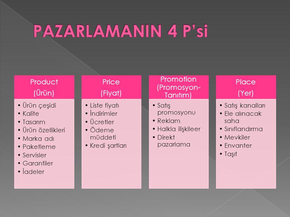 Product (Ürün) Ürün çeşidi Kalite Tasarım Ürün özellikleri Marka adı Paketleme Servisler Garantiler İadeler Price (Fiyat) Liste fiyatı İndirimler Ücretler Ödeme müddeti Kredi şartları Promotion (Promosyon- Tanıtım) Satış promosyonu Reklam Halkla ilişkileer Direkt pazarlama Place (Yer) Satış kanalları Ele alınacak saha Sınıflandırma Mevkiler Envanter Taşıt