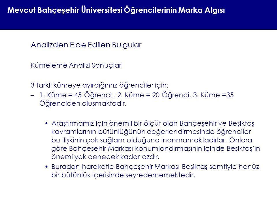 Mevcut Bahçeşehir Üniversitesi Öğrencilerinin Marka Algısı Analizden Elde Edilen Bulgular Kümeleme Analizi Sonuçları 3 farklı kümeye ayırdığımız öğren