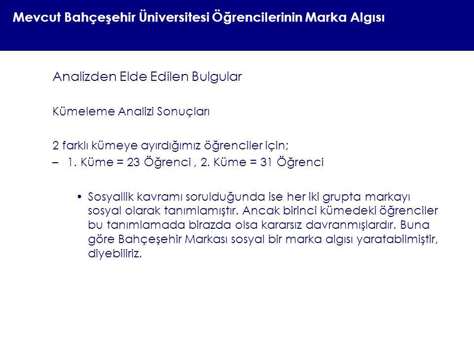 Mevcut Bahçeşehir Üniversitesi Öğrencilerinin Marka Algısı Analizden Elde Edilen Bulgular Kümeleme Analizi Sonuçları 2 farklı kümeye ayırdığımız öğren