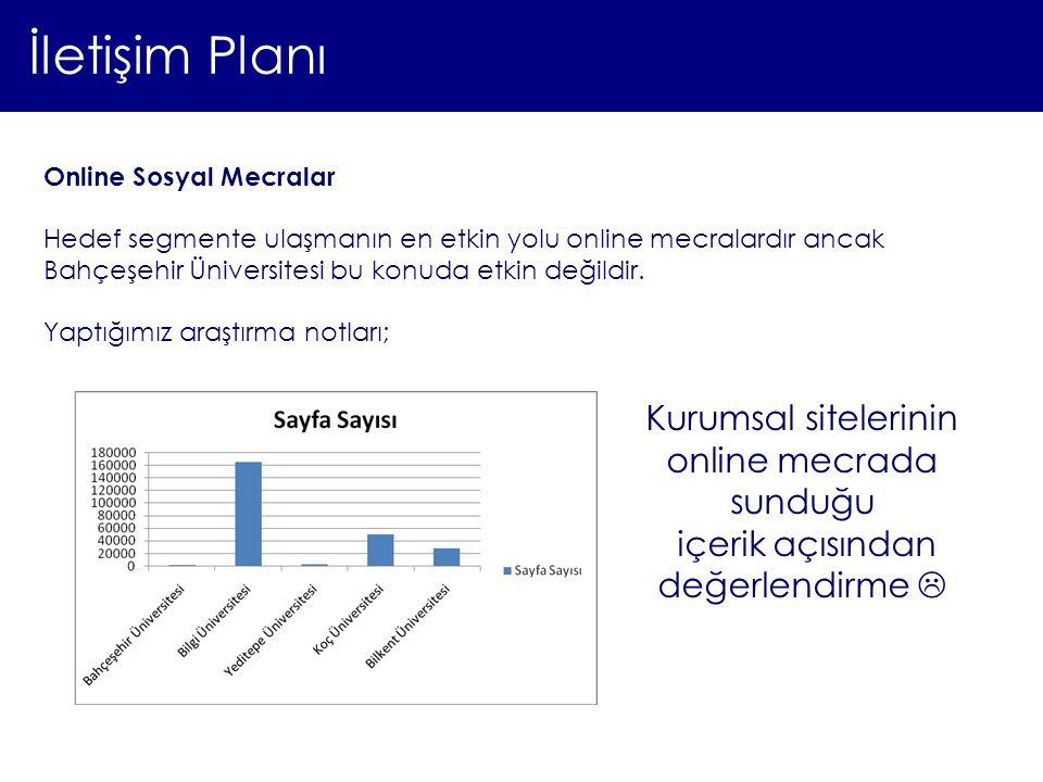 İletişim Planı Online Sosyal Mecralar Hedef segmente ulaşmanın en etkin yolu online mecralardır ancak Bahçeşehir Üniversitesi bu konuda etkin değildir