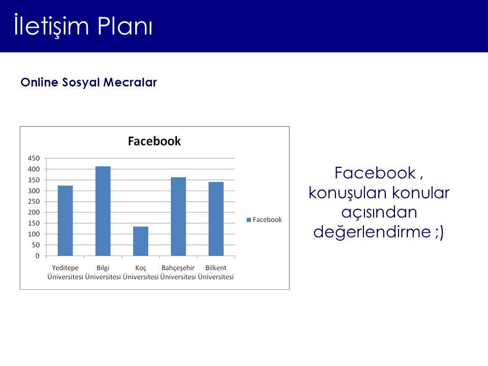 İletişim Planı Online Sosyal Mecralar Facebook, konuşulan konular açısından değerlendirme ;)