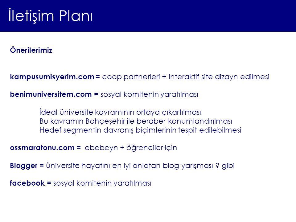 İletişim Planı Önerilerimiz kampusumisyerim.com = coop partnerleri + interaktif site dizayn edilmesi benimuniversitem.com = sosyal komitenin yaratılma