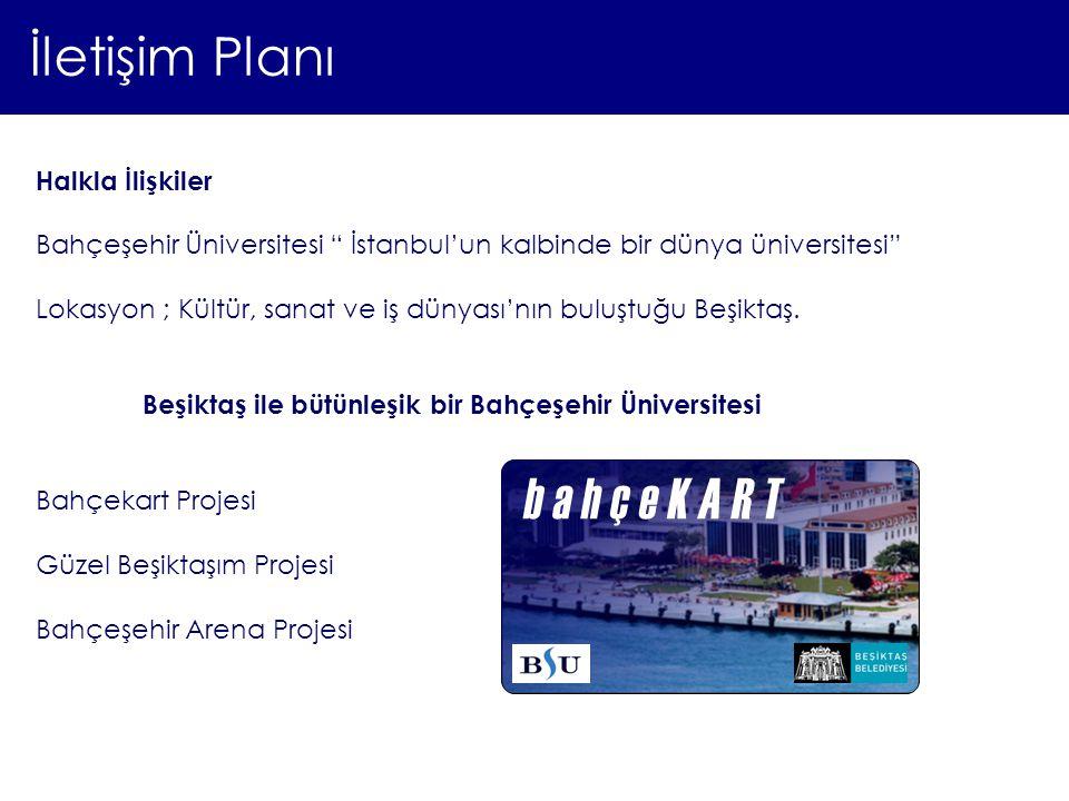 """İletişim Planı Halkla İlişkiler Bahçeşehir Üniversitesi """" İstanbul'un kalbinde bir dünya üniversitesi"""" Lokasyon ; Kültür, sanat ve iş dünyası'nın bulu"""