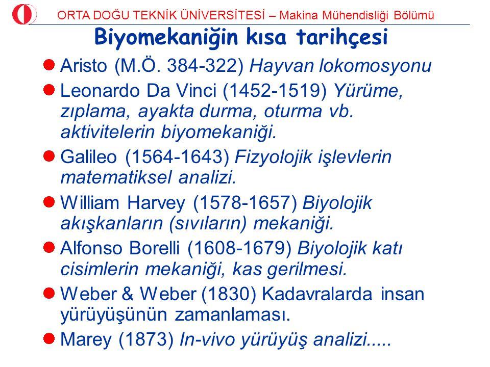 ORTA DOĞU TEKNİK ÜNİVERSİTESİ – Makina Mühendisliği Bölümü Biyomekaniğin kısa tarihçesi Aristo (M.Ö. 384-322) Hayvan lokomosyonu Leonardo Da Vinci (14