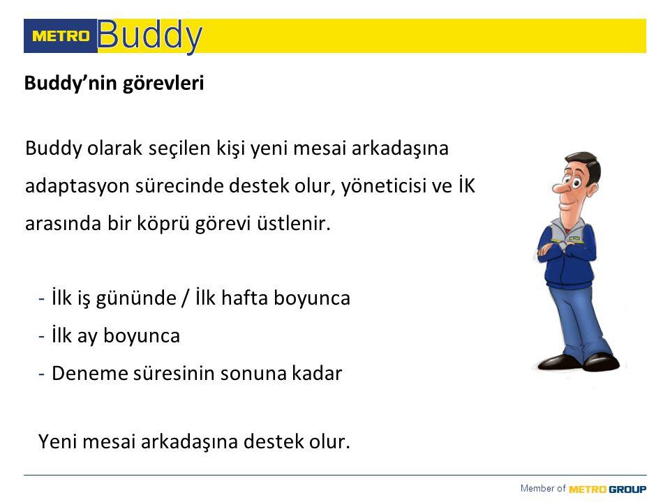 Member of Buddy'nin görevleri Buddy olarak seçilen kişi yeni mesai arkadaşına adaptasyon sürecinde destek olur, yöneticisi ve İK arasında bir köprü gö
