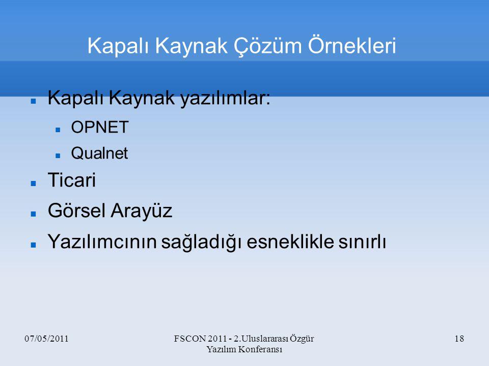 07/05/2011FSCON 2011 - 2.Uluslararası Özgür Yazılım Konferansı 18 Kapalı Kaynak Çözüm Örnekleri Kapalı Kaynak yazılımlar: OPNET Qualnet Ticari Görsel