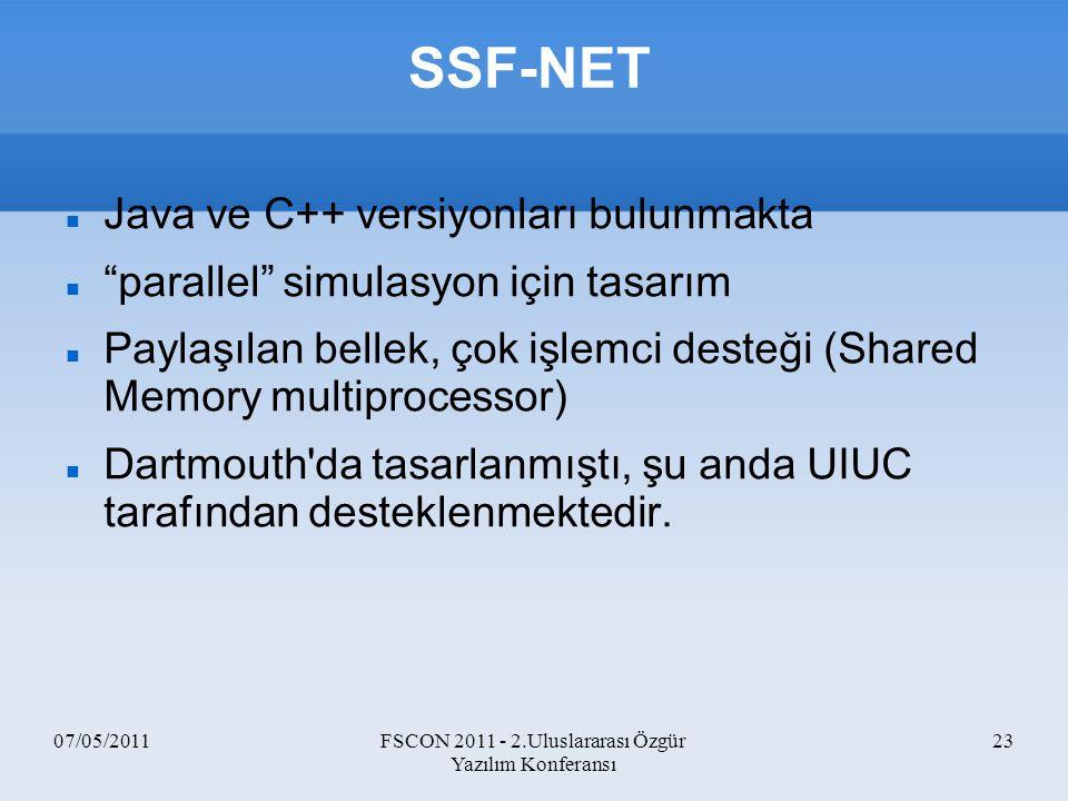 """07/05/2011FSCON 2011 - 2.Uluslararası Özgür Yazılım Konferansı 23 SSF-NET Java ve C++ versiyonları bulunmakta """"parallel"""" simulasyon için tasarım Payla"""
