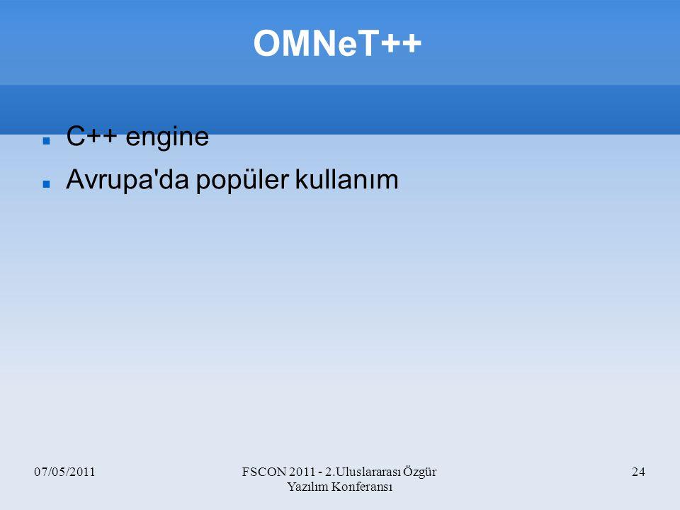 07/05/2011FSCON 2011 - 2.Uluslararası Özgür Yazılım Konferansı 24 OMNeT++ C++ engine Avrupa'da popüler kullanım