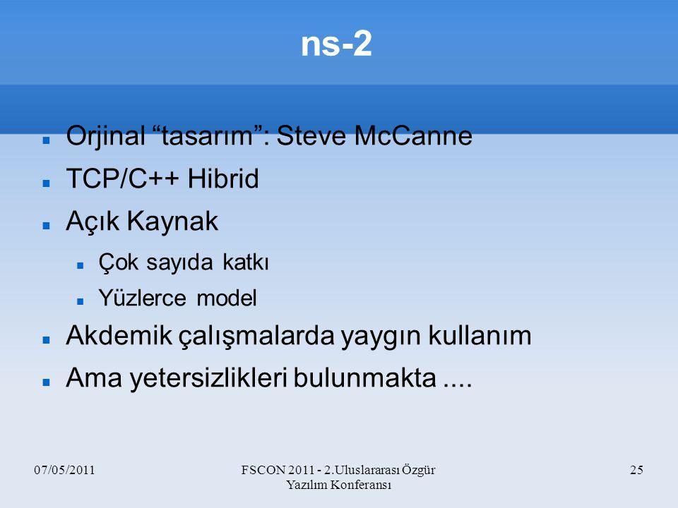 """07/05/2011FSCON 2011 - 2.Uluslararası Özgür Yazılım Konferansı 25 ns-2 Orjinal """"tasarım"""": Steve McCanne TCP/C++ Hibrid Açık Kaynak Çok sayıda katkı Yü"""