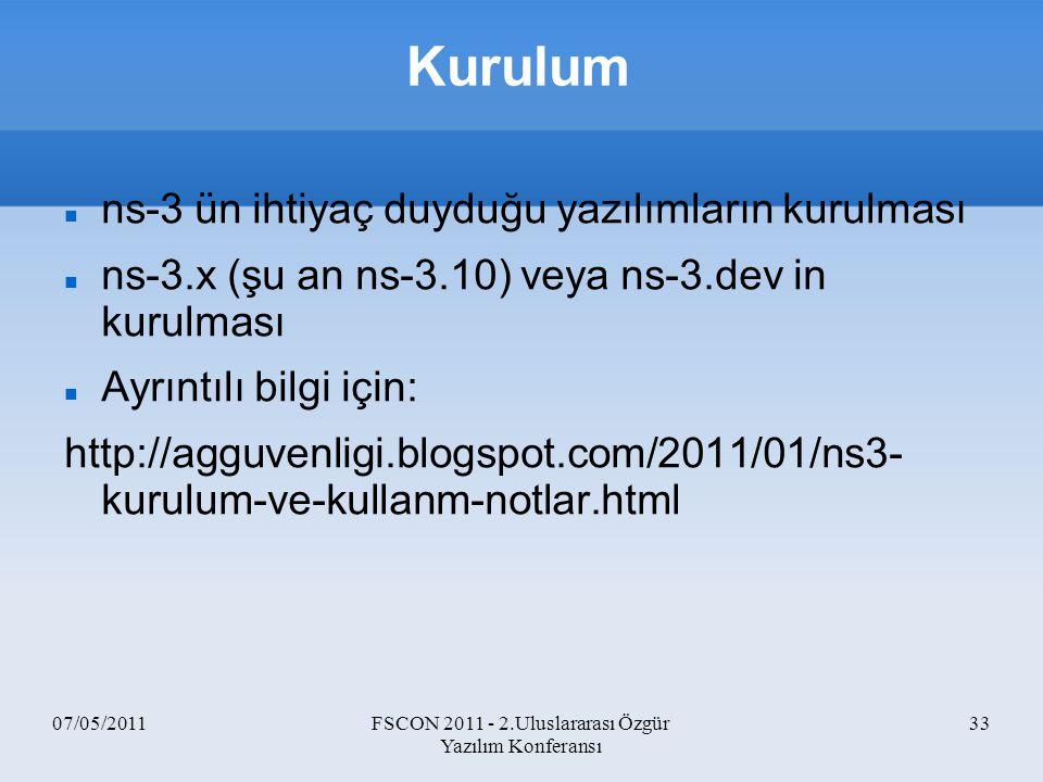 07/05/2011FSCON 2011 - 2.Uluslararası Özgür Yazılım Konferansı 33 Kurulum ns-3 ün ihtiyaç duyduğu yazılımların kurulması ns-3.x (şu an ns-3.10) veya n
