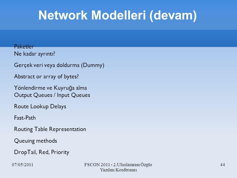 07/05/2011FSCON 2011 - 2.Uluslararası Özgür Yazılım Konferansı 44 Paketler Ne kadar ayrıntı? Gerçek veri veya doldurma (Dummy) Abstract or array of by