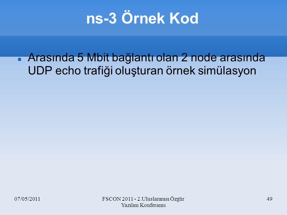 07/05/2011FSCON 2011 - 2.Uluslararası Özgür Yazılım Konferansı 49 ns-3 Örnek Kod Arasında 5 Mbit bağlantı olan 2 node arasında UDP echo trafiği oluştu