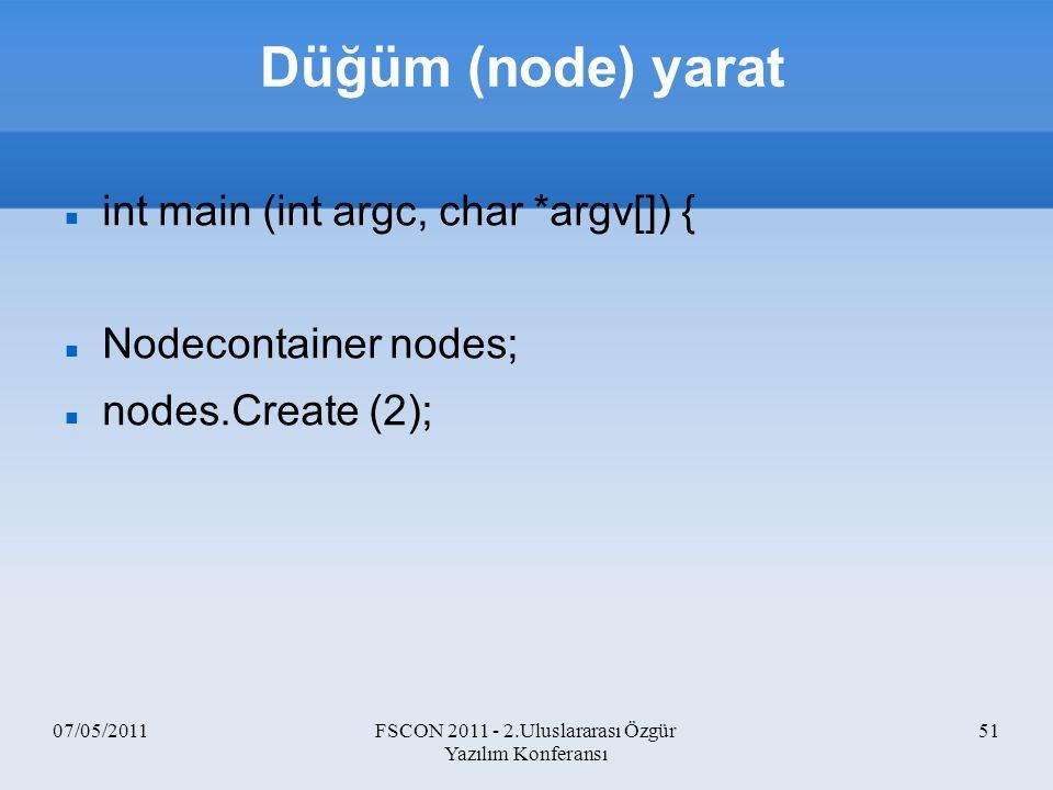 07/05/2011FSCON 2011 - 2.Uluslararası Özgür Yazılım Konferansı 51 Düğüm (node) yarat int main (int argc, char *argv[]) { Nodecontainer nodes; nodes.Cr