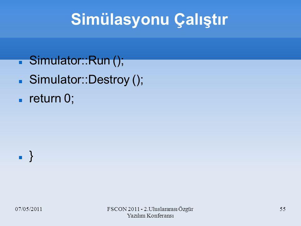 07/05/2011FSCON 2011 - 2.Uluslararası Özgür Yazılım Konferansı 55 Simülasyonu Çalıştır Simulator::Run (); Simulator::Destroy (); return 0; }
