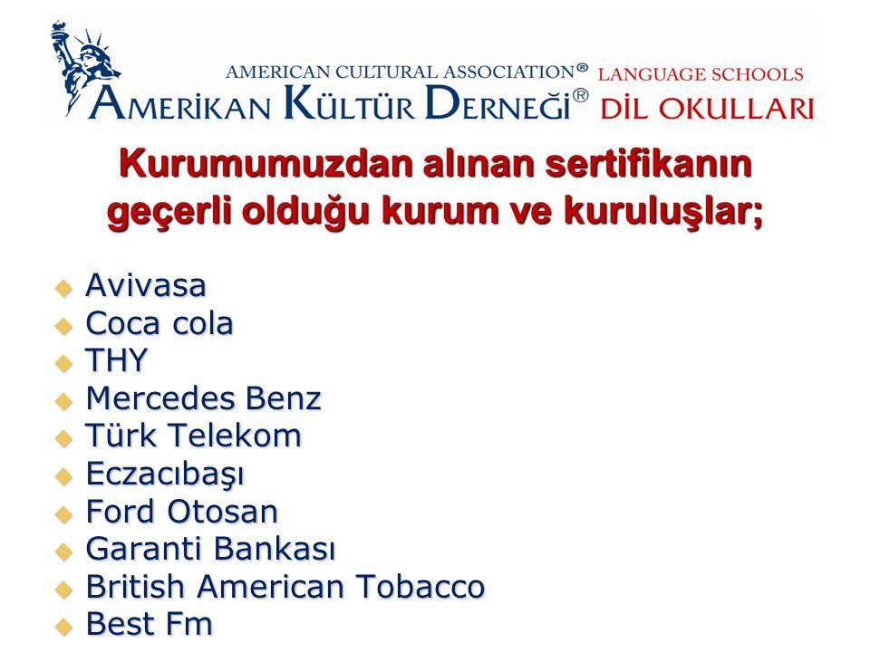 Kurumumuzdan alınan sertifikanın geçerli olduğu kurum ve kuruluşlar;  Avivasa  Coca cola  THY  Mercedes Benz  Türk Telekom  Eczacıbaşı  Ford Otosan  Garanti Bankası  British American Tobacco  Best Fm