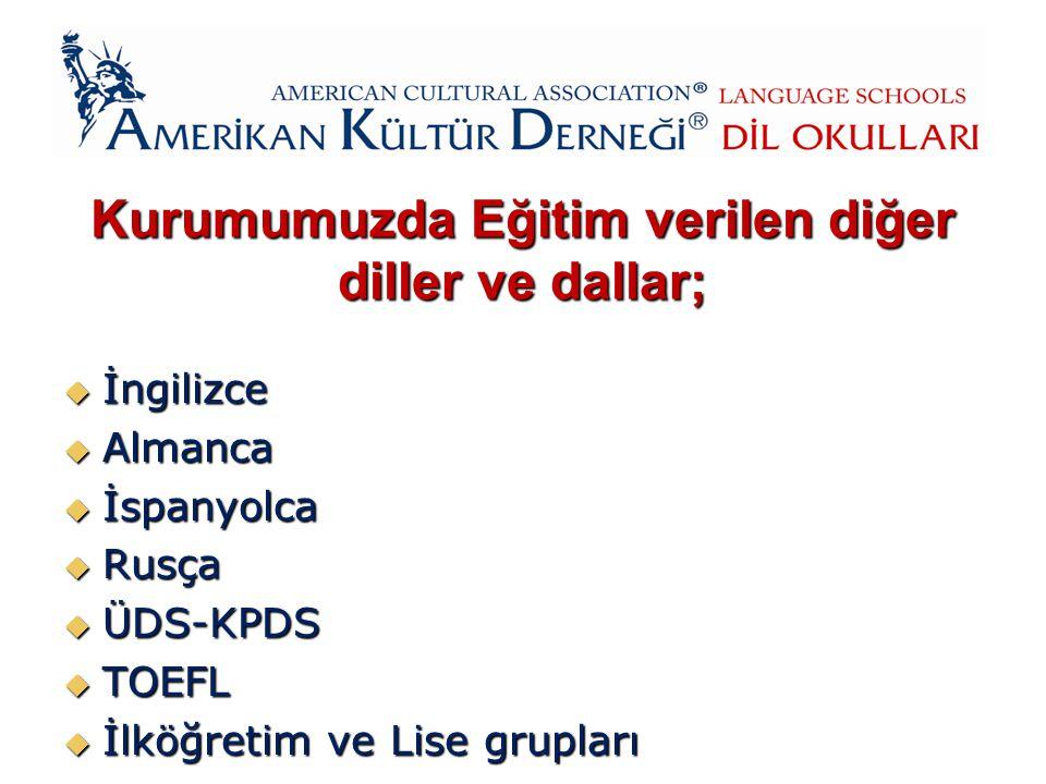 Kurumumuzda Eğitim verilen diğer diller ve dallar;  İngilizce  Almanca  İspanyolca  Rusça  ÜDS-KPDS  TOEFL  İlköğretim ve Lise grupları