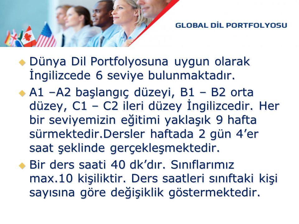  Dünya Dil Portfolyosuna uygun olarak İngilizcede 6 seviye bulunmaktadır.