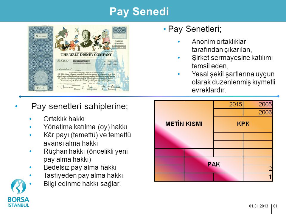 Pay Senedi 01.01.2013 01 Pay Senetleri; Anonim ortaklıklar tarafından çıkarılan, Şirket sermayesine katılımı temsil eden, Yasal şekil şartlarına uygun