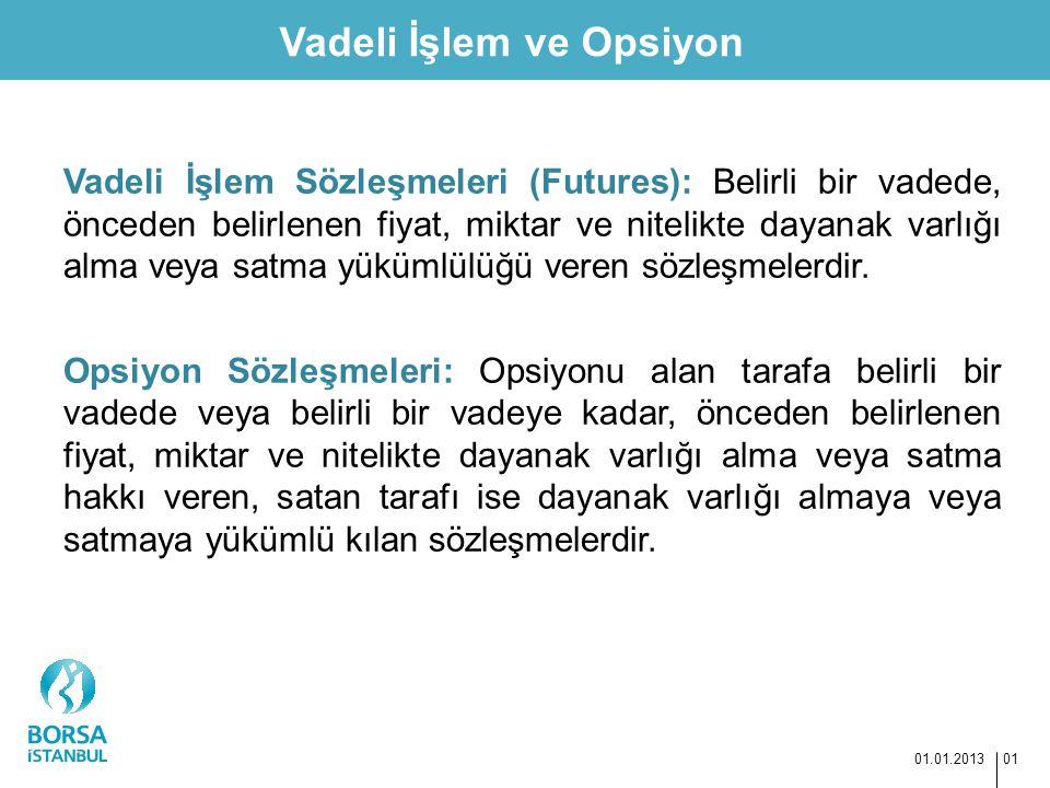 Vadeli İşlem ve Opsiyon 01.01.2013 01 Vadeli İşlem Sözleşmeleri (Futures): Belirli bir vadede, önceden belirlenen fiyat, miktar ve nitelikte dayanak v