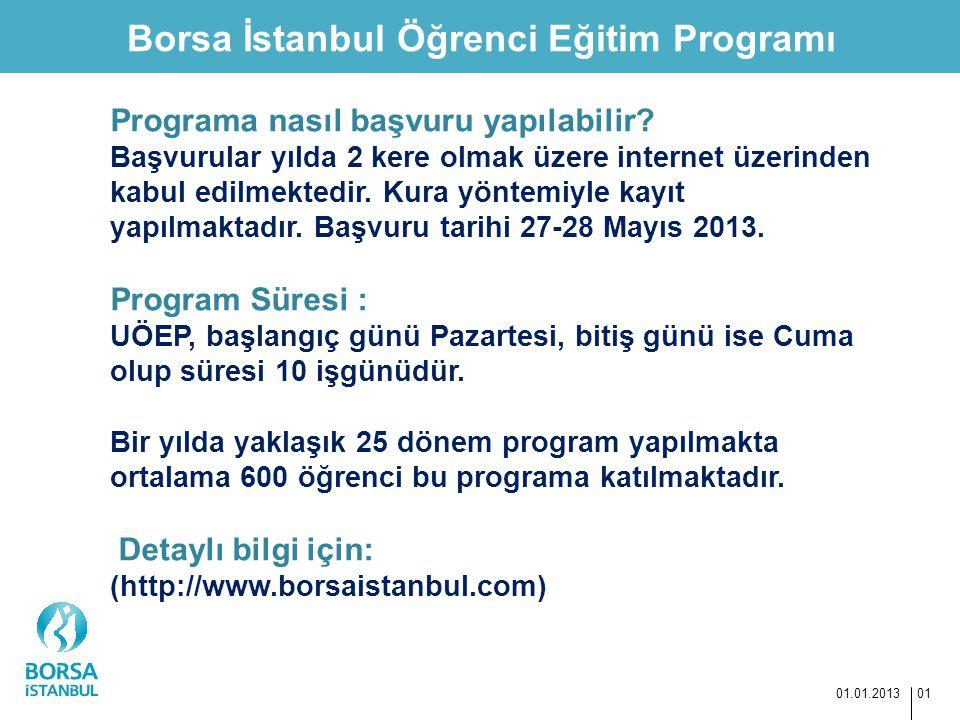 Borsa İstanbul Öğrenci Eğitim Programı 01.01.2013 01 Programa nasıl başvuru yapılabilir? Başvurular yılda 2 kere olmak üzere internet üzerinden kabul